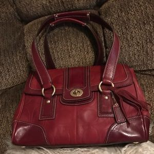 Beautiful burgundy red leather coach bag